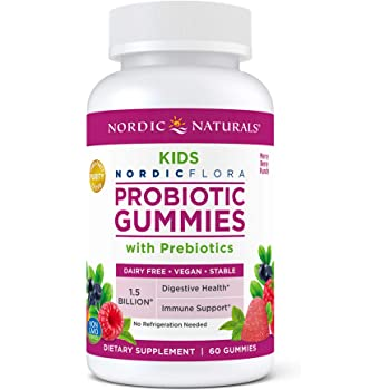 Nordic Naturals Kids Nordic Flora Probiotic Gummies, Merry Berry Punch - 60 Gummies - 1.5 Billion CFU & Prebiotic Fiber - Non-GMO, Vegan - 30 Servings