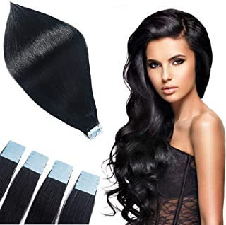 Tofafa Tape in Human Hair Extensions 16 Inch 20pcs 40g/pack Silky Straight Remy Hair Extensions Jet Black #1
