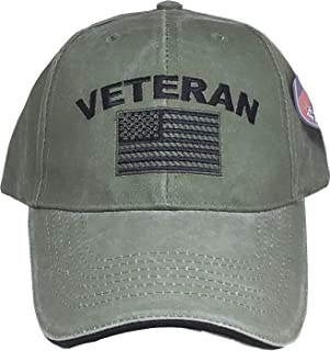 Eagle Crest Military Veteran U.S. Flag Cap, Green, Adjustable