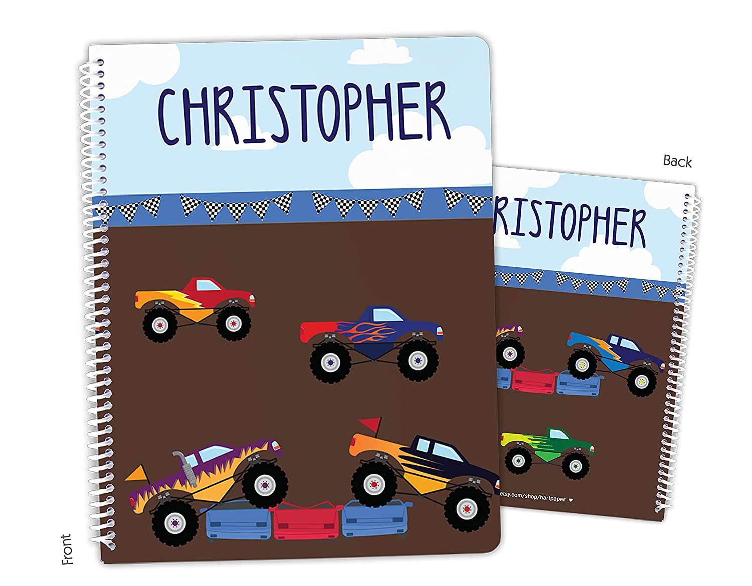Daily bargain sale Cheap Personalized Monster Truck Spiral Sketchbook Notebook Bound