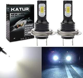 KaTur H7 LED Fog Light Bulbs Extremely Bright 2400 Lumens Max 75W High Power LED for Daytime Running Light DRL or Fog Lights, Xenon White (H7 White)