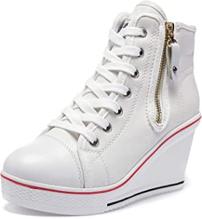 MEWOW Women's Wedge Canvas Sneakers High Heeled Canvas Trainer Side Zipper Shoes