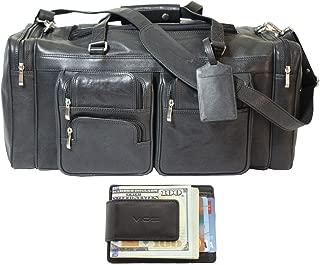 Malibu 22 Inch Full Grain Leather Duffel Travel Bag Sports Gym Bag Weekender Overnight Luggage