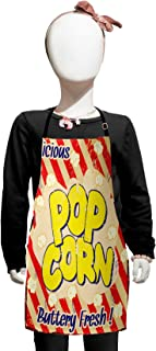 Lunarable 1960s Kids Apron, Popcorn Vintage Grunge Delicious Buttery Tasty Movie Advertising, Boys Girls Apron Bib with Adjustable Ties for Baking Painting, Kids Size, Blue Scarlet