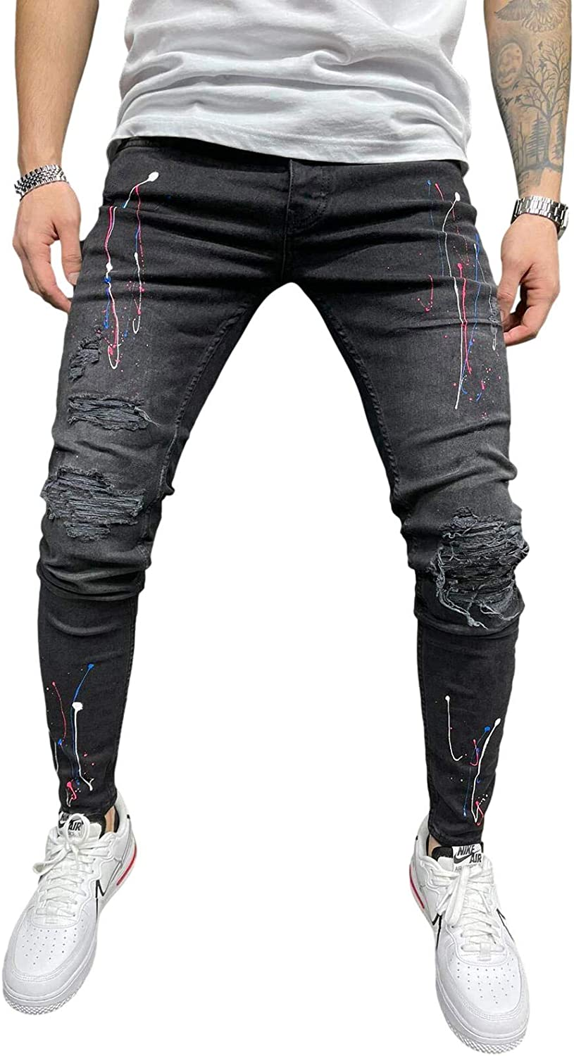Bowanadacles Men's Distressed Skinny Jeans Slim National uniform free shipping Je New sales Patchwork Fit