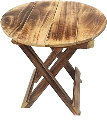 The Furniture Store Round Folding Small Wooden Stool for Cafe Outdoor Furniture Picnic Garden Living Room Bedroom Kitchen Home Decor Foot Stool for Speaker Plants Statue end Table Brown 12 Inch