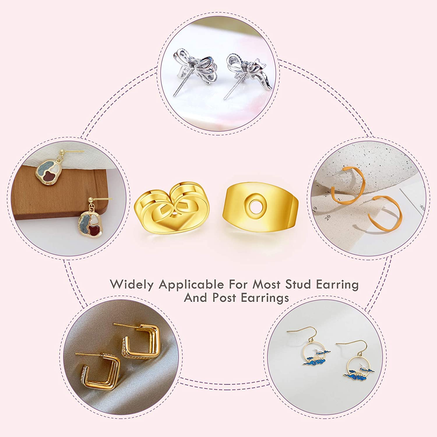 Hypoallergenic Flat Earring Backs for Droopy Ears Catmade 14k Gold Plated Earring Backs for Studs Secure 10Pcs//5Pairs Screw on Earring Backs//Earring Lifters//Earring Supplies
