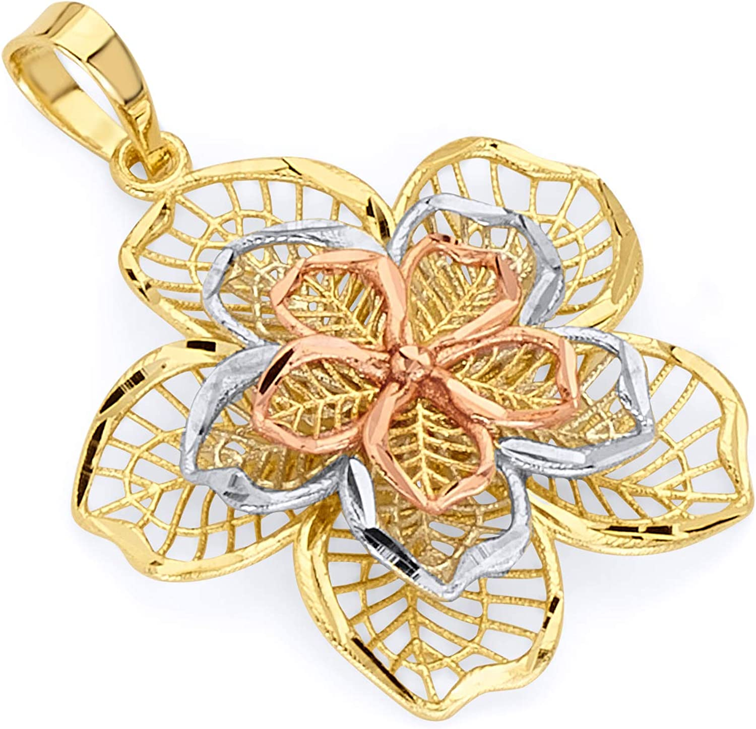 Wellingsale 14k 3 Tri Color White Yellow and Rose Gold Filigree Flower Pendant (Size : 26 x 23 mm)