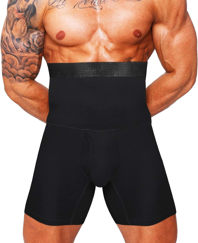 Mens Tummy Control Shapewear High Waist Slimming Bodysuit Shorts Boxer Briefs Body Shaper Long Leg Underwear