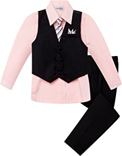 OLIVIA KOO Baby and Big Boy's 4 Piece Pinstripe Vest Suit Set (Size S to 20)
