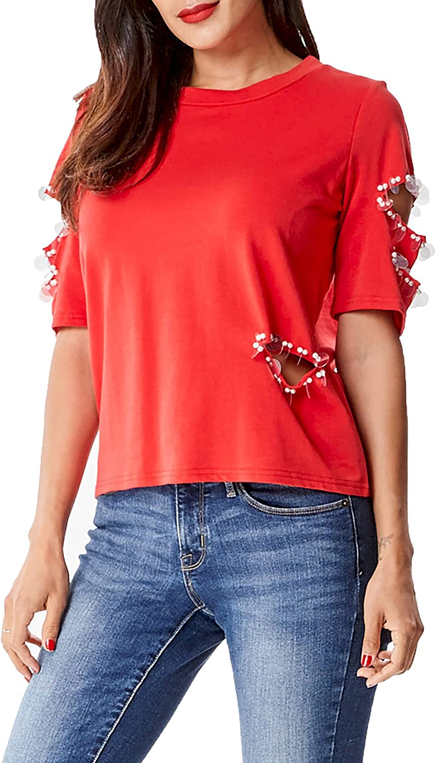 In2you Pearl Beaded Ripped Sweat Shirt