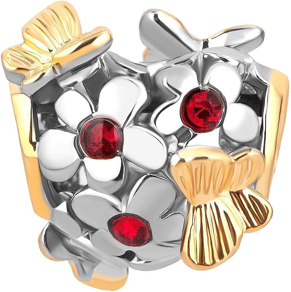 LovelyJewelry Flower Butterfly Heart 2021 model for Charm Bead Bargain sale Bracelets
