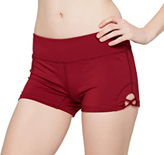 Womens Stretch Solid Athletic Shorts Cross Side Tie Dance Yoga Shorts