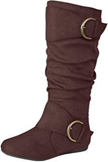 Forever Link Women's Closed Round Toe Buckle Slouch Flat Heel Mid-Calf Boot