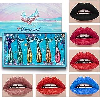 6Pcs Liquid Lipstick Makeup Set,Mermaid Tail Lip Gloss Kit,Long Lasting Waterproof Gift Sets for Girls and Women (002)