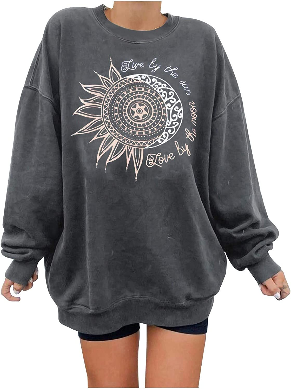 nunonette Aesthetic Sweater for Women,Womens Pullover Sweaters Casual True by The Sun Printed Long Sleeve Sweatshirt Top