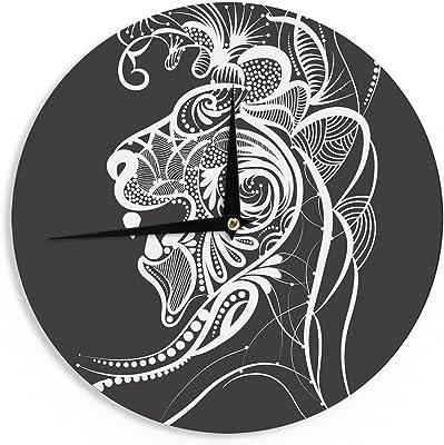 Kess InHouse BarmalisiRTB Panda De La Muerte Black White Digital 12 Wall Clock