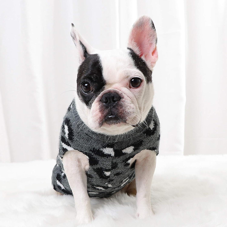 Dog Sweater Pet Knitted Leopard Puppy Pattern Warm Finally resale start Swea 55% OFF