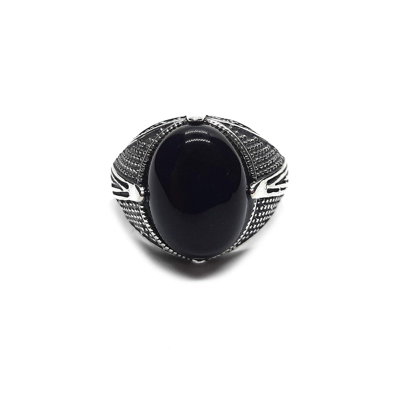 Anillo de plata esterlina para hombre con 16x12mm ónix negro genuino sólido con sello de 925