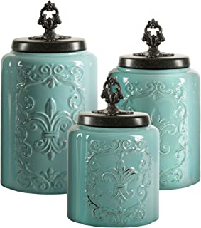 American Atelier Blue Antique Set of 3 Canisters