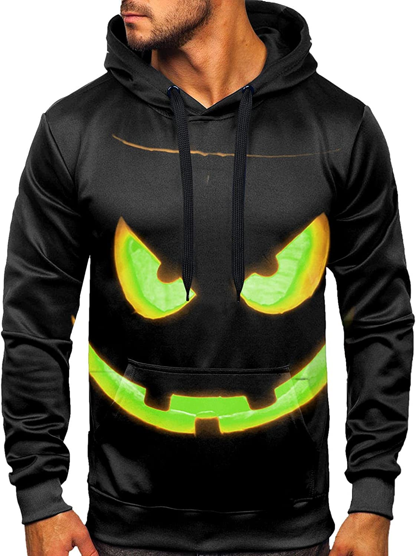 Aayomet Sweatshirts for Men Pullover Fashion Halloween Printed Long Sleeve Hoodies Blend Fleece Kanga Pocket Shirts