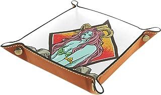 Plateau à bijoux Illustration de la sorcière Plateau de rangement pour bijoux en cuir Petite boîte de rangement Organisate...