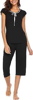 MAXMODA Women's Capri Pajama Set Short Sleeve Sleepwear Pjs Sets with Scoop Neck S-XXL