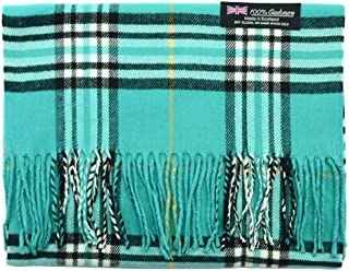 2 PLY 100% Cashmere Scarf Rectangle Elegant Collection Made in Scotland Wool Teal CA018