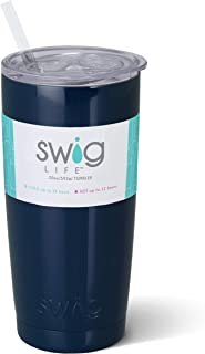 Swig Life Stainless Steel Triple-Insulated 20oz Tumbler with BPA Free Slide-Closure Lid and Reusable Straw in Navy Blue