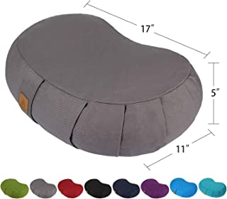 FelizMax Crescent Zafu Meditation Pillow,  Zabuton Yoga Bolster,  Meditation Cushion,  Floor Pouf,  Yoga Pillow,  Zippered Organic Cotton Cover,  Natural Buckwheat,  Kneeling Pillow - Large