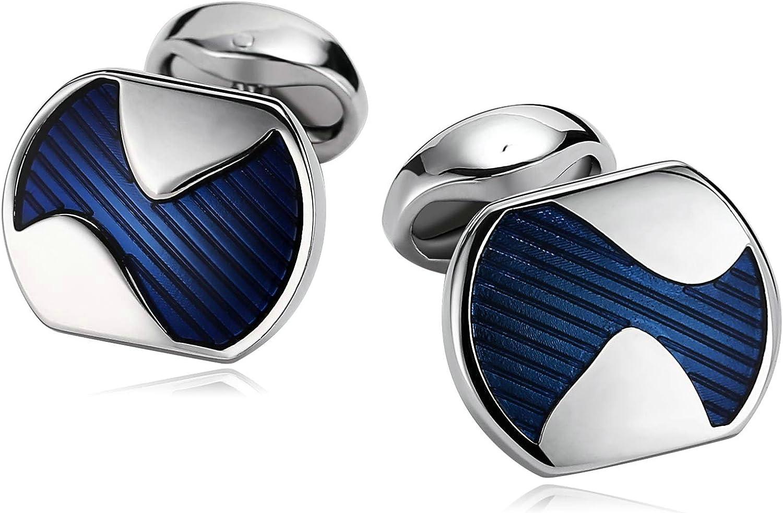 AMDXD Stainless Steel Cufflinks for Men, Cuff Links Wedding Rectangular 1.8 x 1.5 cm, from Wife
