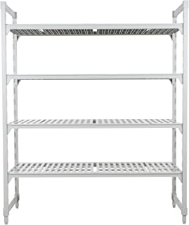 Cambro CPU183672V4480 Camshelving Premium Starter Unit, 4-Tier (4) Vented Polypropylene Shelf Plates, (2) Pre-Assembled Post Kits, (8) Traverses and Molded-In Dovetails, 72