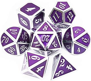 Haxtec DND Metal Dice Set Silver Purple D&D Dice for Dungeons and Dragons DND RPG Table Games-Enamel Dice (Silver Royal Purple)