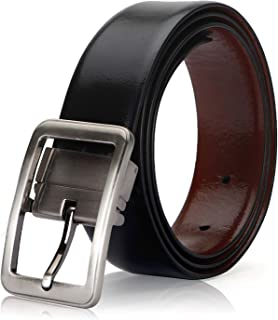 0199e133c9811 Flex Boom Men's Genuine Leather Dress Belt Reversible with Single Prong  Rotated Buckle Gift Box