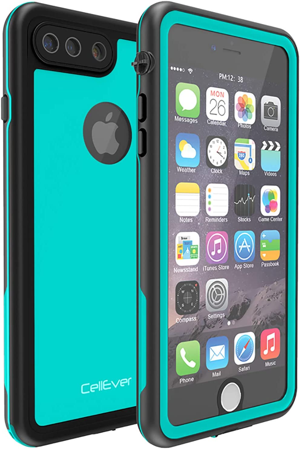CellEver Compatible with iPhone 7 Plus / 8 Plus Waterproof Case Shockproof IP68 Certified SandProof Snowproof Full Body Protective Cover Designed for iPhone 7 Plus/iPhone 8 Plus - KZ C-Ocean Blue