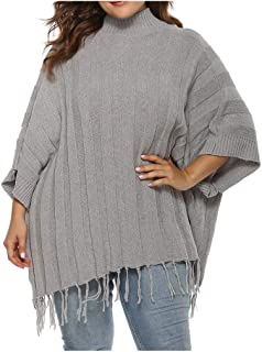 Witspace Plus Size Womens Bat Sleeve Pure Color Sweater Tassels Pullover Blouse Tops