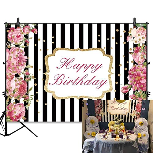 e9a97623bcbe Allenjoy 7x5ft Soft Fabric Pink Rose Happy Birthday Party Backdrop Black  SND White Stripe with Golden Dots Floral Women Birthday Photography  Background ...