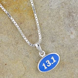 Sterling Silver and Blue Enamel Mini 13.1 Half Marathon Pendant Necklace