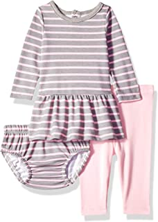 Hanes Ultimate Baby Flexy Long Sleeve Dress with Diaper Cover and Legging Set