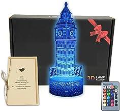 MARZIUS World Landmark Building 3D Illusion LED Tafellamp Nachtlampje met Wenskaart, Lichtgevende Base, 16 Kleuren Verande...