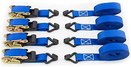 Ratchet Straps - Premium Tie Down Moving Straps with Double J Hooks - 586 lbs Load Cap - 1760 lbs Break Strength - 1 inch x 15 feet - Set of 4