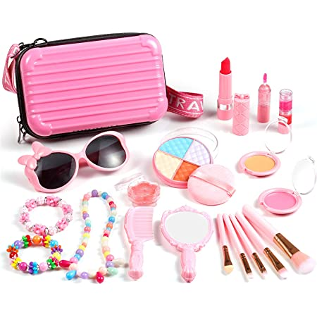 Auney 20 Piezas Maquillaje Niñas Set, Maquillaje Infantil, Juguete de Maquillaje no tóxico, Kit de Maquillaje para niñas para niños