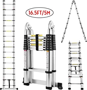 Idealchoiceproduct 16.5FT Extension Folding Telescopic Aluminium A Frame Shape Ladder Steps …