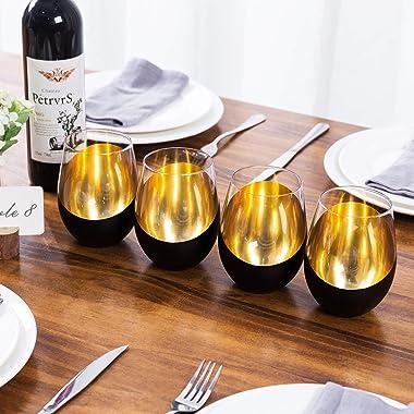 MyGift Matte Black & Gold Stemless Wine Glasses, Set of 4