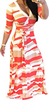 Women's V Neck Long Sleeves Digital Graffiti Printed Prom Party Maxi Long Dress with Belt