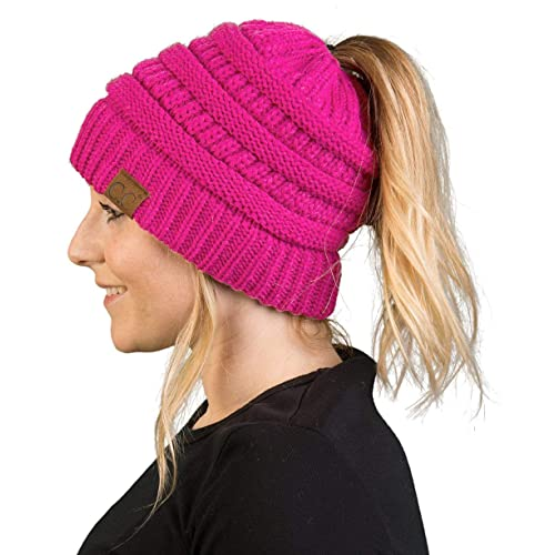 807f057e671685 Funky Junque Ponytail Messy Bun BeanieTail Women's Beanie Solid Ribbed Hat  Cap