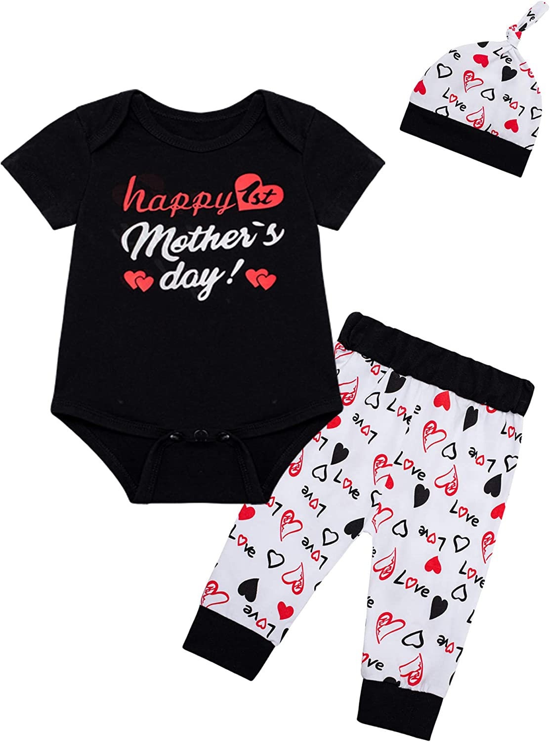 My 1st Happy Mother's Day Outfit Newborn Baby boy Clothes Short Sleeve Pant +Hat