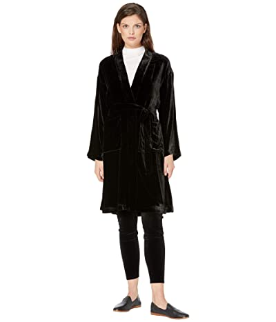 Eileen Fisher High Collar Knee Length Jacket w/ Belt (Black) Women