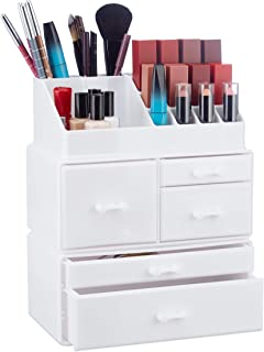 Relaxdays Organizer wit 21 Compartments, Cosmetic Tower for Lipstick, Nail Polish, Makeup Tray, White, Pack of 1