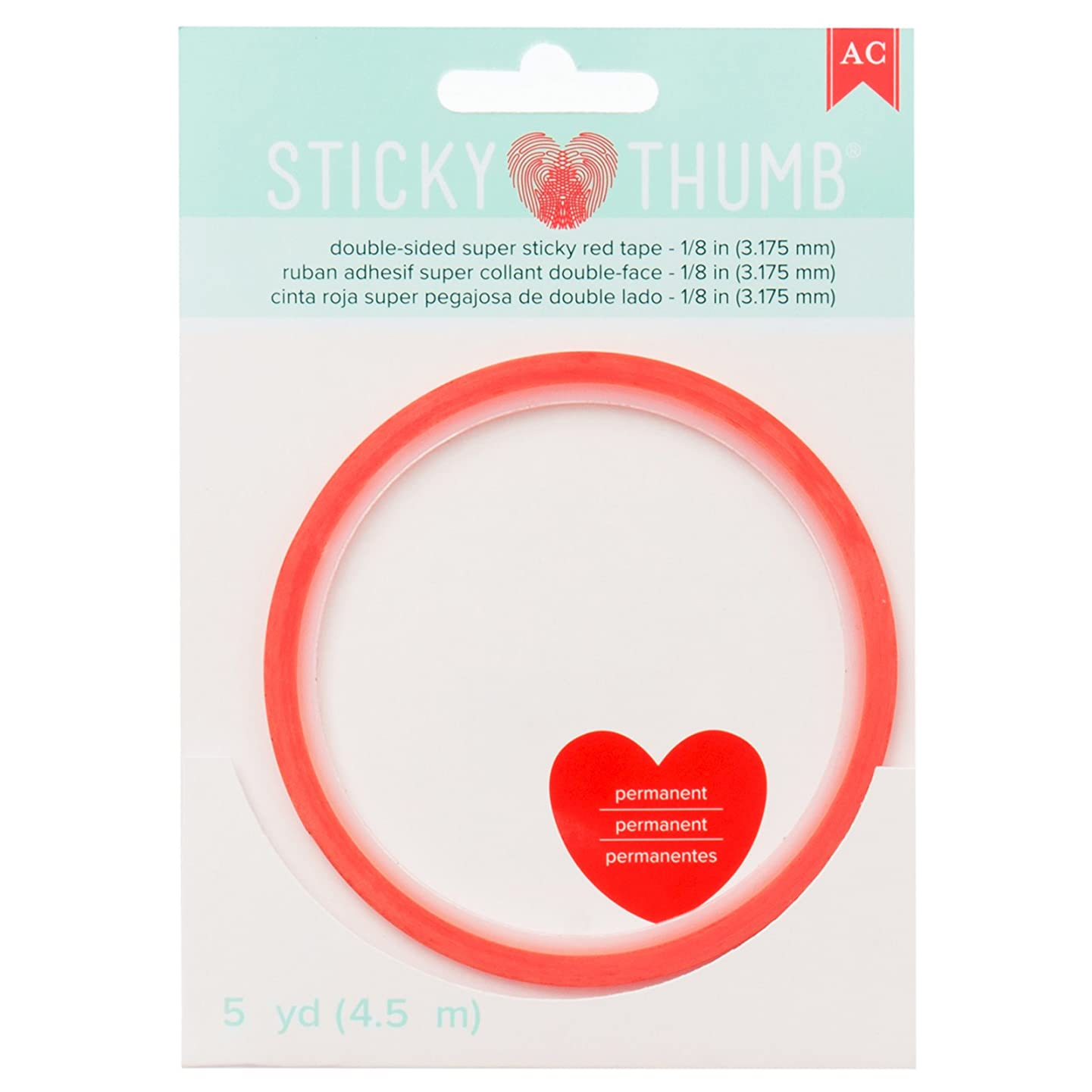 American Crafts Super Red Tape 1/8 Inch Wide 5 Yards Sticky Thumb ruymifdslibf